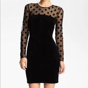 Juicy Coulture Sheer Polka Dot & Velvet Dress